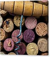 Corkscrew On Top Of Wine Corks Canvas Print