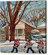 Cormac And Friends Neighborhood Hockey Game Ottawa Suburban City Scene Canvas Print