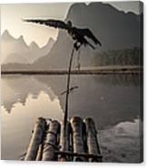 Cormorant Fishing On Li River Canvas Print