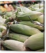 Corn On Display At Farmers Market Canvas Print