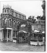 Corner Cafe Main Street Disneyland Bw Canvas Print