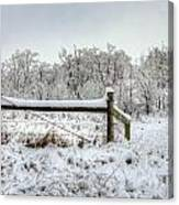 Corner Post Ice And Snow Canvas Print