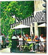 Corner Taverne Terrace French Paris Bistro Painting Sidewalk Cafe Wine Cheese Bar Montreal Cspandau  Canvas Print