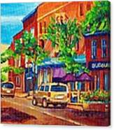 Corona Theatre Presents The Burgundy Lion Rue Notre Dame Montreal Street Scene By Carole Spandau Canvas Print
