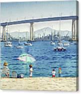 Coronado Beach And Navy Ships Canvas Print