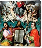 Coronation Of The Virgin With Saints Luke Dominic And John The Evangelist Canvas Print