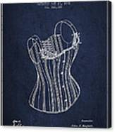 Corset Patent From 1882 - Navy Blue Canvas Print