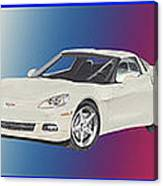 Corvettes In Red White And True Blue Canvas Print