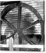 Cosley Mill Waterwheel In Black And White Canvas Print