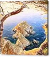 Costa Brava In Spain With Crayons Canvas Print