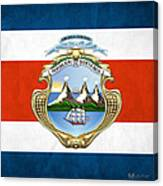 Costa Rica Coat Of Arms And Flag  Canvas Print