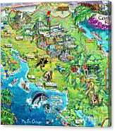Costa Rica Map Illustration Canvas Print