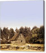 Cottage And Splitrail Fence Canvas Print