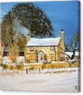 Cottage At Christmas Canvas Print