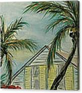 Cottage Rooftops And Palm Trees Harbor Island Canvas Print