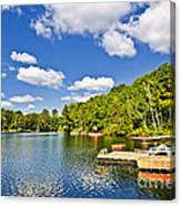Cottages On Lake With Docks Canvas Print