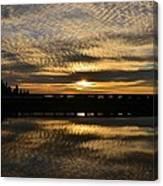 Cotton Ball Clouds Sunset Canvas Print
