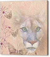 Cougar And Butterflies Canvas Print