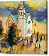 Country Church At Sunset Canvas Print