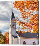 Country Church Under Fall Colors Canvas Print