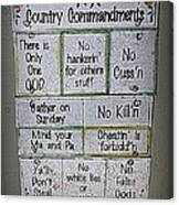 Country Commandments Canvas Print