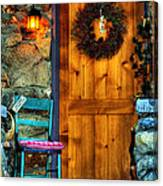 Country Cottage Door At Christmas Canvas Print