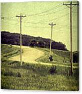 Country Dirt Road And Telephone Poles Canvas Print