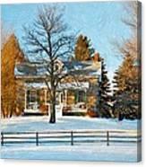 Country Home Impasto Canvas Print