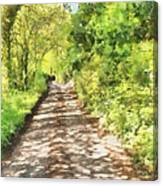 Country Lane Watercolour Canvas Print