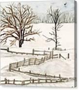 Country Snow Scene Ozaukee County Wisconsin Canvas Print