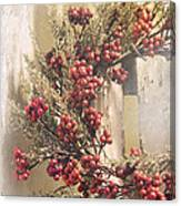 Country Wreath With Red Berries Canvas Print