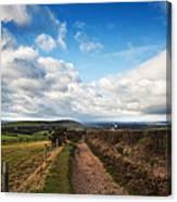 Countryside Landscape Path Leading Through Fields Towards Dramat Canvas Print