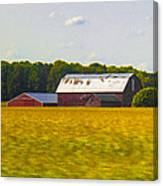 Countryside Landscape With Red Barns Canvas Print