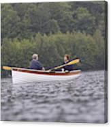Couple Boating On Lake, Maine, Usa Canvas Print