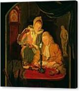 Couple Counting Money By Candlelight, 1779 Panel Canvas Print