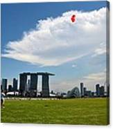 Couple Flies Kite Marina Bay Sands Singapore Canvas Print