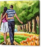 Couple In The Park 01 Canvas Print