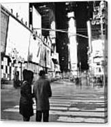 Couple In Times Square Canvas Print