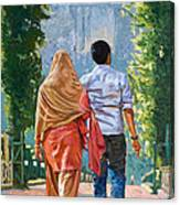 Couple Under The Leafy Arch Canvas Print
