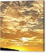 Couple Walking On Beach At Sunset Canvas Print
