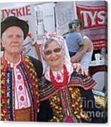 Couples In Polish National Costumes Canvas Print