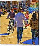 Couples Summer In The City Walking Biking Strolling With Baby Carriage Art Of Montreal Street Scene Canvas Print