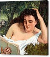 Courbet's A Young Woman Reading Canvas Print