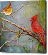 Courting Cardinals, Birds Canvas Print