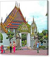 Courtyard In Wat Po In Bangkok-thailand Canvas Print