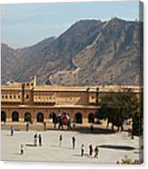 Courtyard Of Amer Fort, Rajasthan Canvas Print