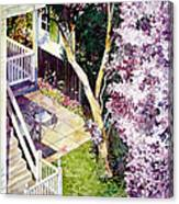 Courtyard With Cherry Blossoms Canvas Print