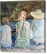 Cousins At The Brook Canvas Print