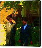Covenant Conversation Two Men Of God Hasidic Community Montreal City Scene Rabbinical Art Carole Spa Canvas Print