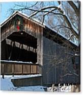 Covered Bridge At Christmas Canvas Print